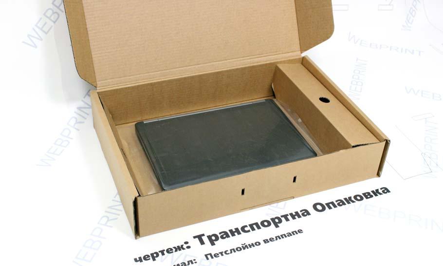 Транпосртна опаковка сглобен вид със лаптоп във стабилизираща вложка